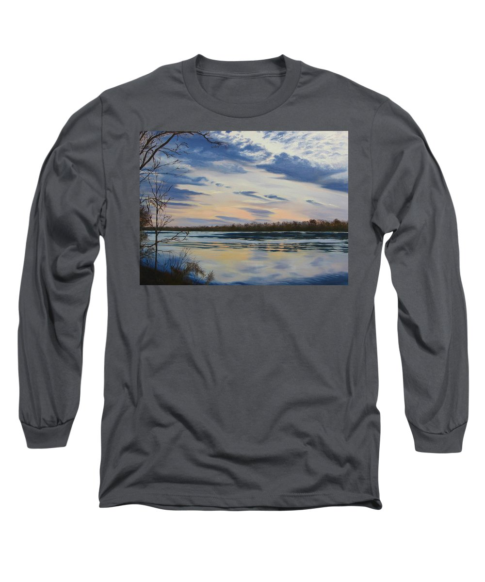 Clouds Long Sleeve T-Shirt featuring the painting Scenic Overlook - Delaware River by Lea Novak