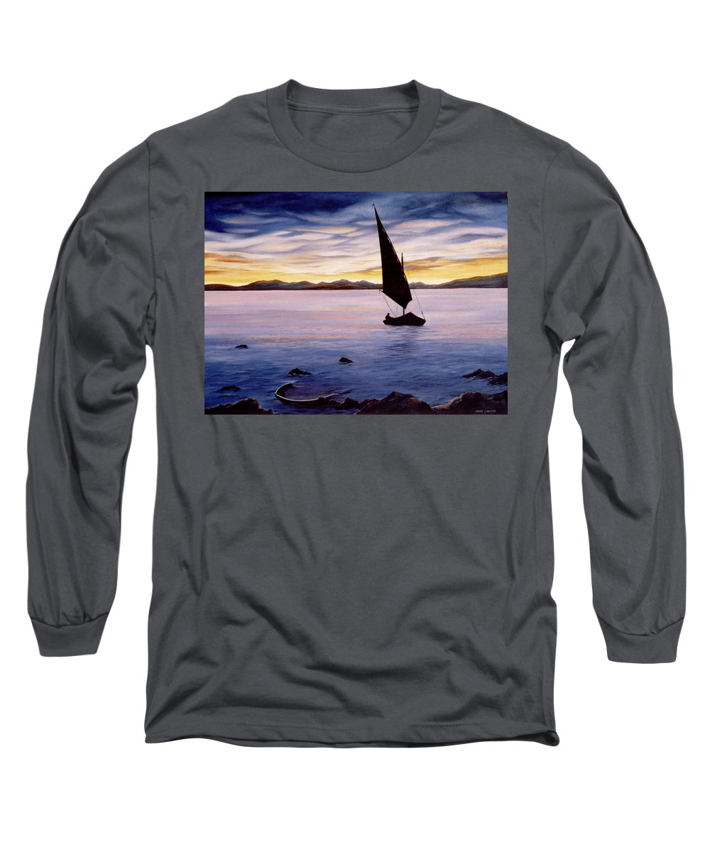 Seascape Long Sleeve T-Shirt featuring the painting Sea Of Souls by Mark Cawood