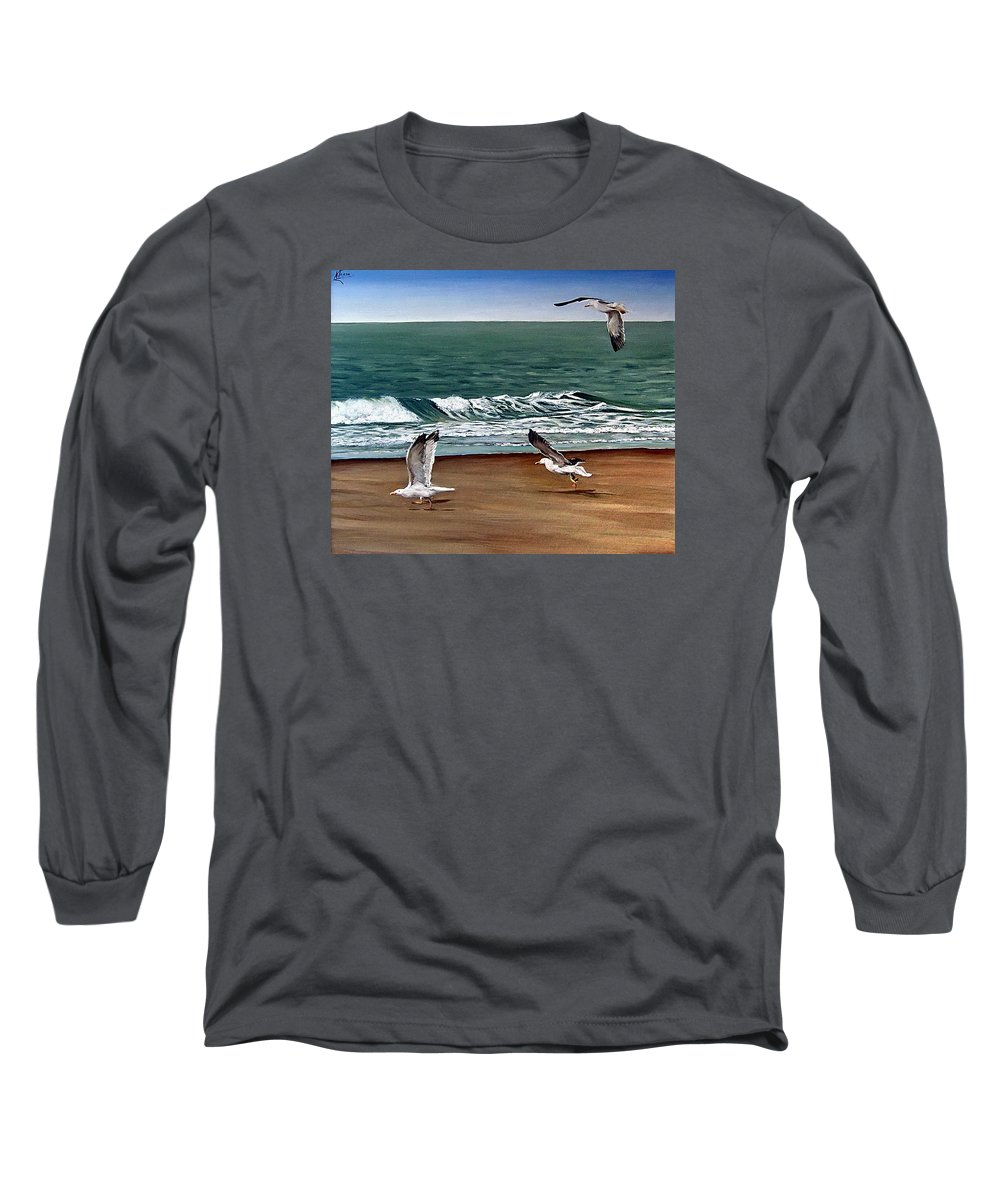 Seascape Long Sleeve T-Shirt featuring the painting Seagulls 2 by Natalia Tejera