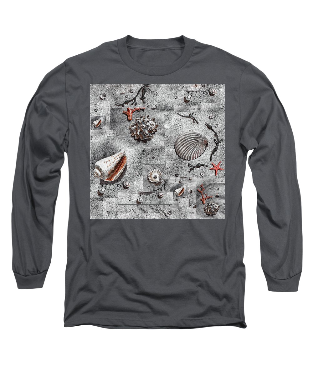 Png Long Sleeve T-Shirt featuring the painting Seashells Collage Of Any Color by Irina Sztukowski