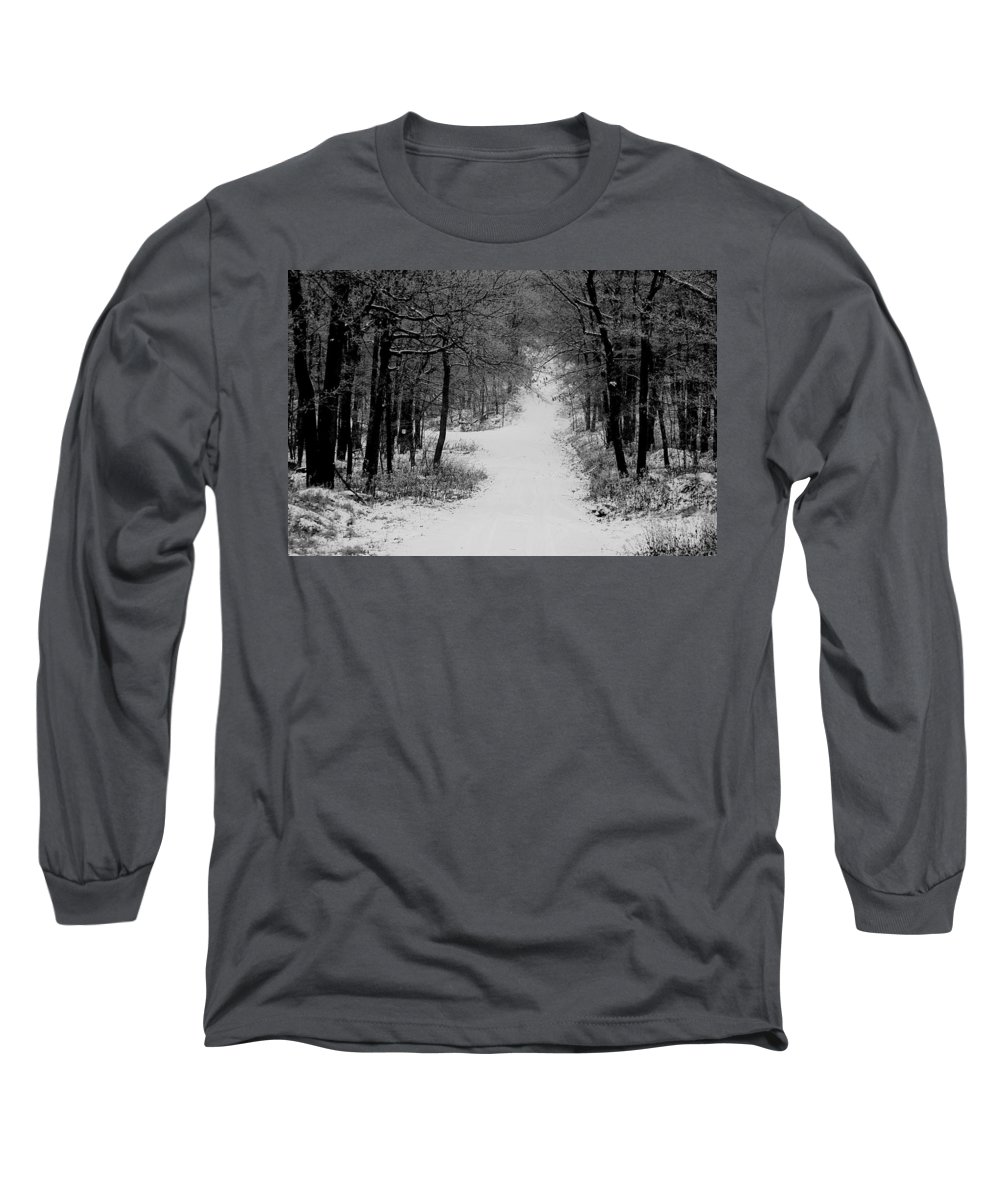 Snow Long Sleeve T-Shirt featuring the photograph See Where It Leads. by Jean Macaluso