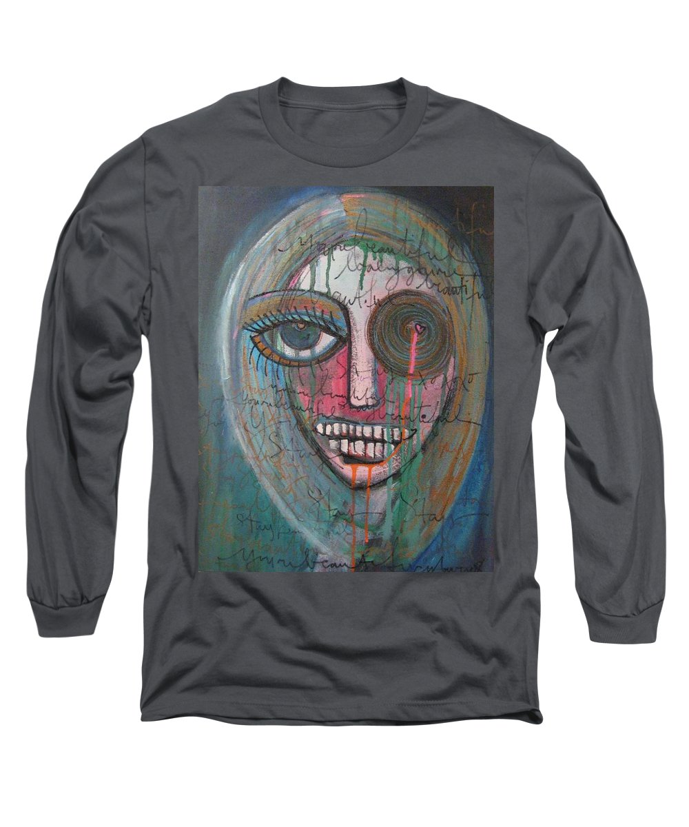 Self Portraits Long Sleeve T-Shirt featuring the painting Self Portrait Youre Beautiful by Laurie Maves ART