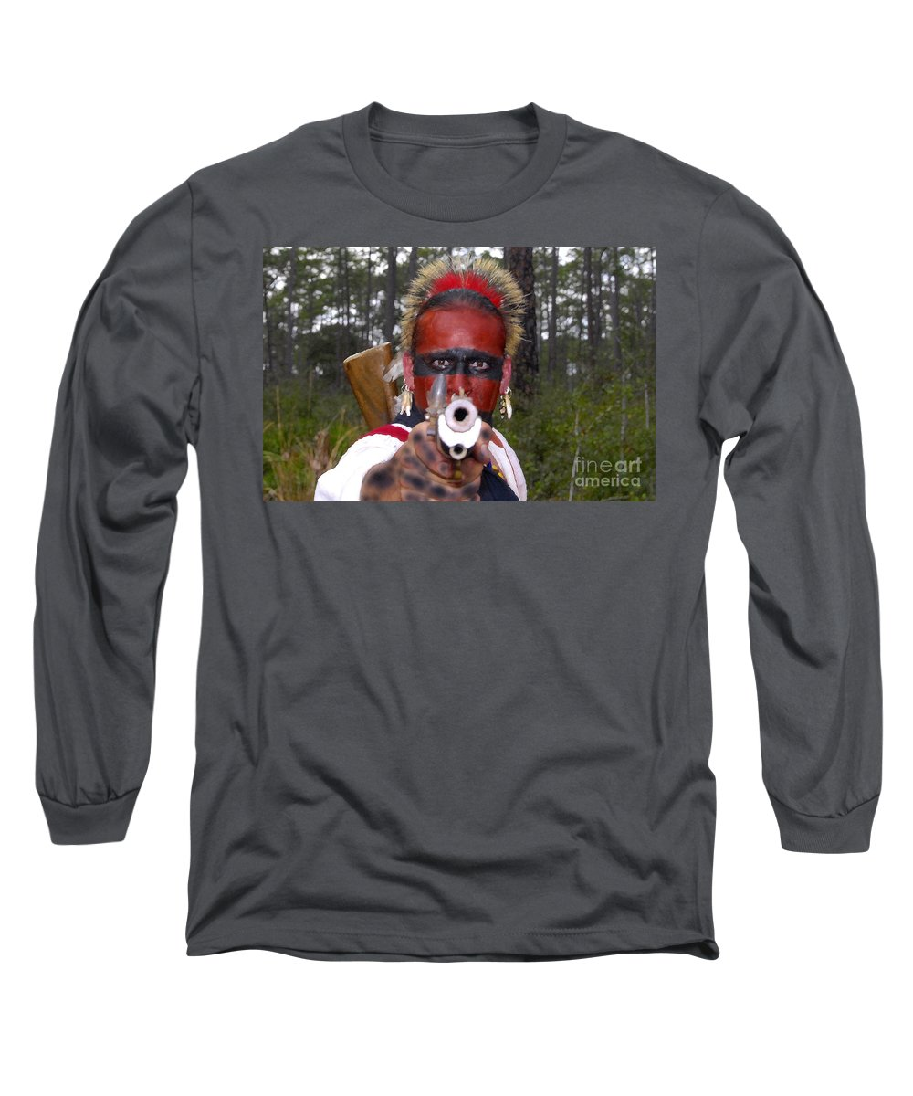 Seminole Indian Long Sleeve T-Shirt featuring the photograph Seminole Warrior by David Lee Thompson