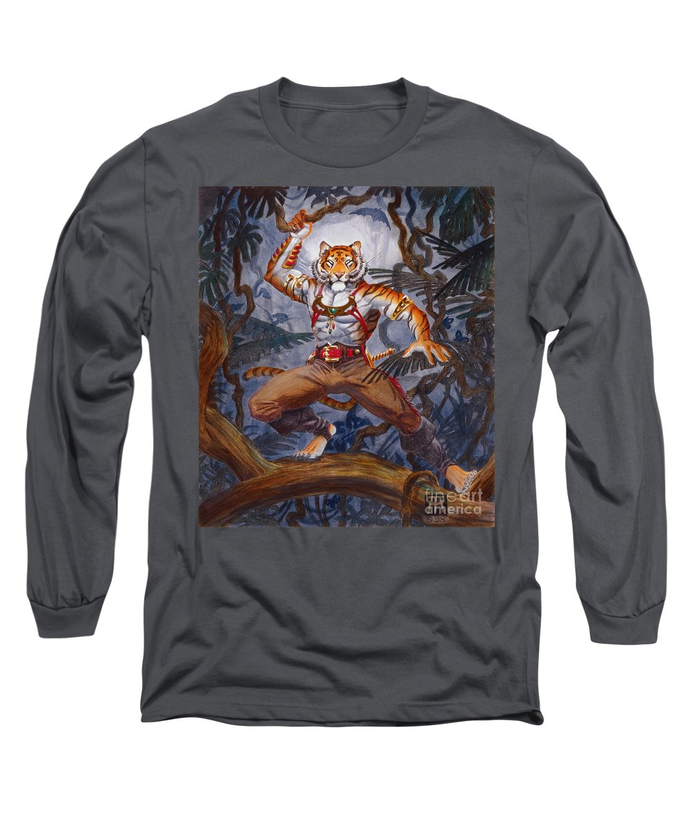 Cat Long Sleeve T-Shirt featuring the painting Sense Dark by Melissa A Benson