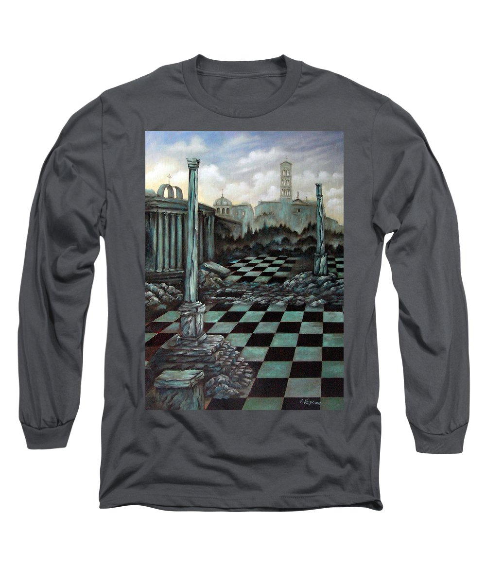 Surreal Long Sleeve T-Shirt featuring the painting Sepulchre by Valerie Vescovi