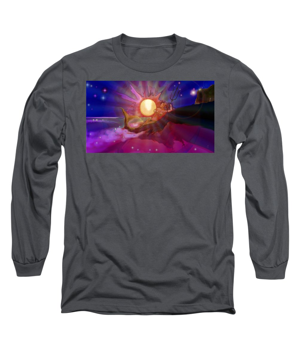 Sera Long Sleeve T-Shirt featuring the digital art Sera Maroon by Mark Kleinschnitz
