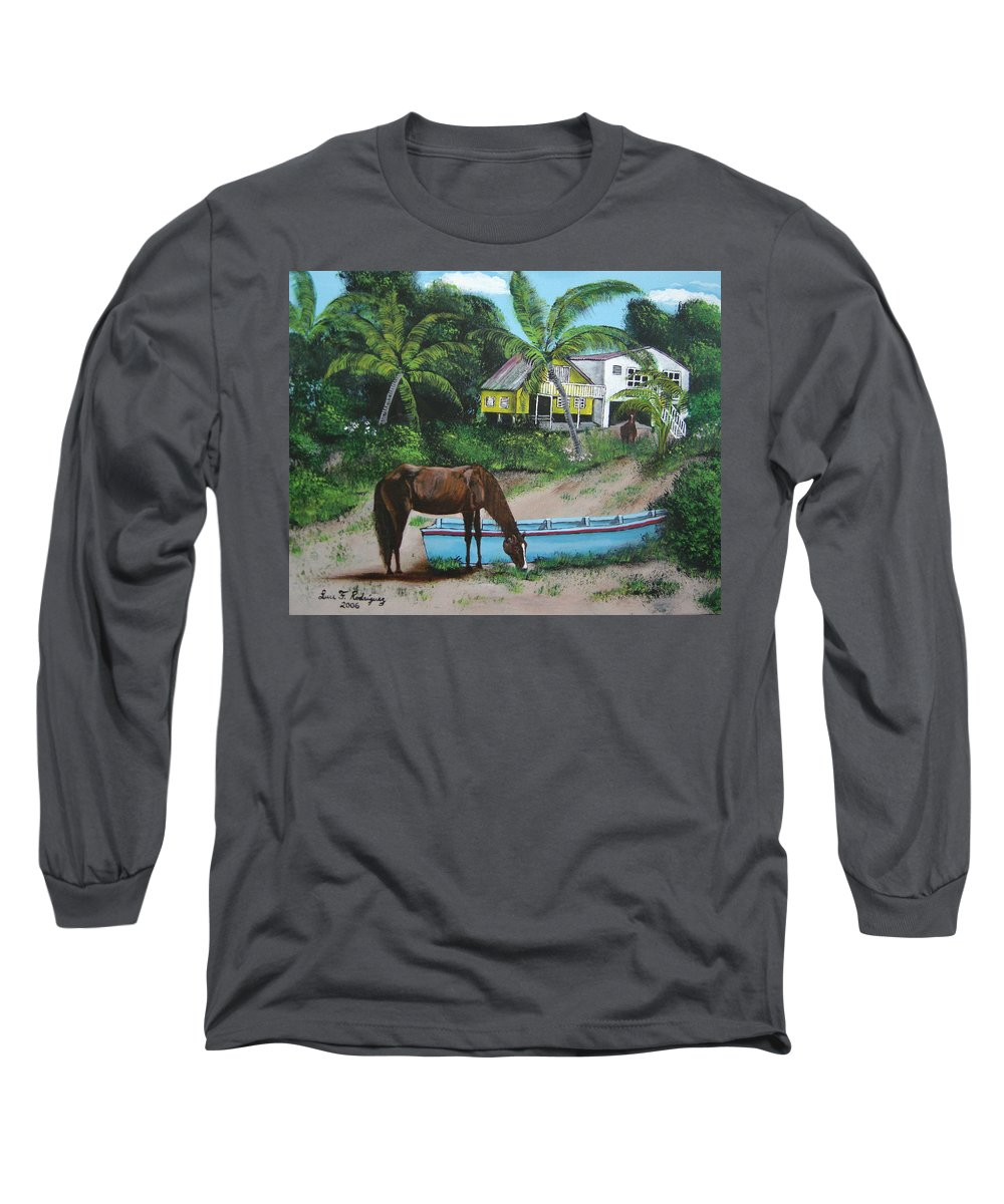 Aguadilla Long Sleeve T-Shirt featuring the painting Serenity by Luis F Rodriguez