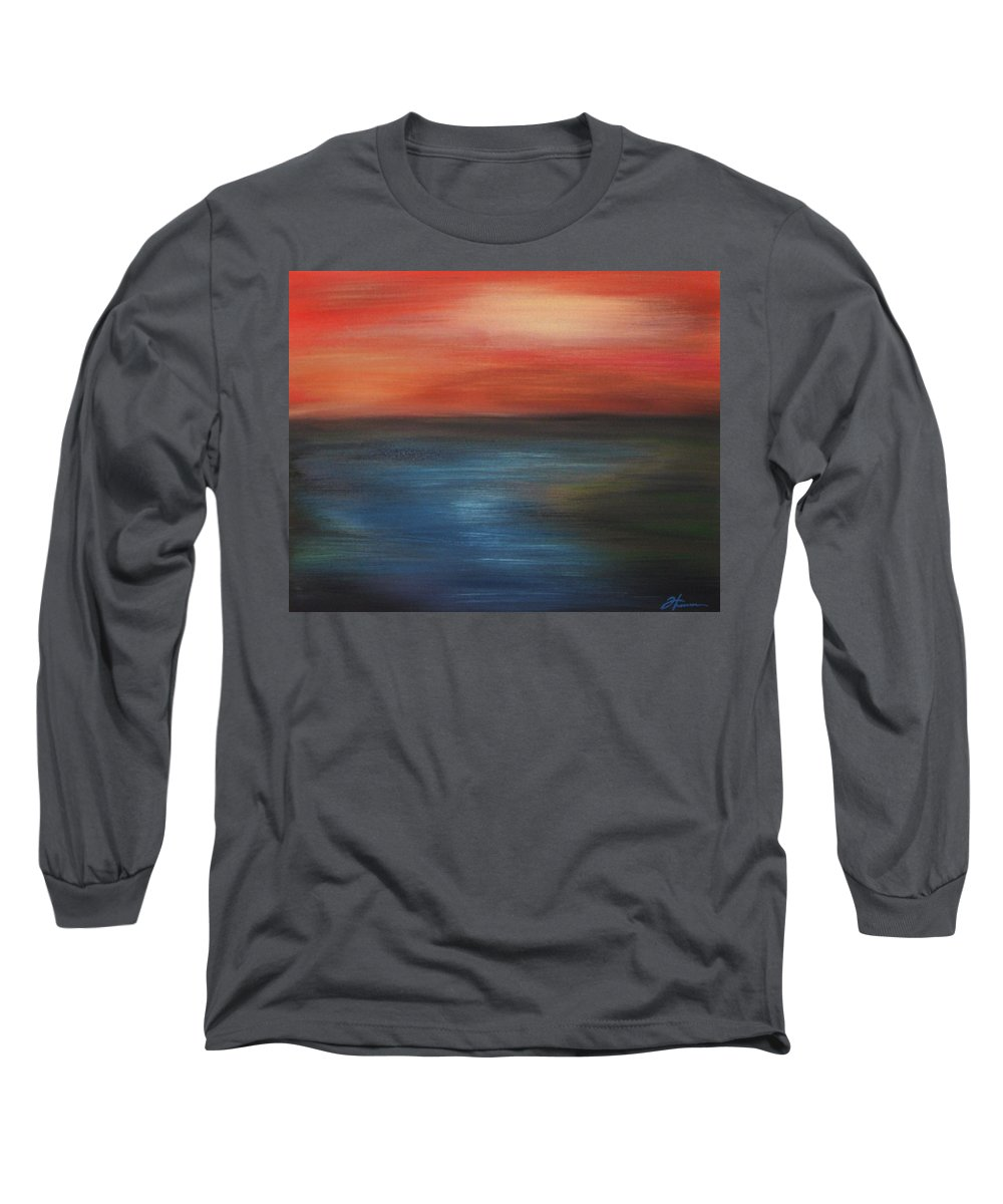 Scenic Long Sleeve T-Shirt featuring the painting Serenity by Todd Hoover
