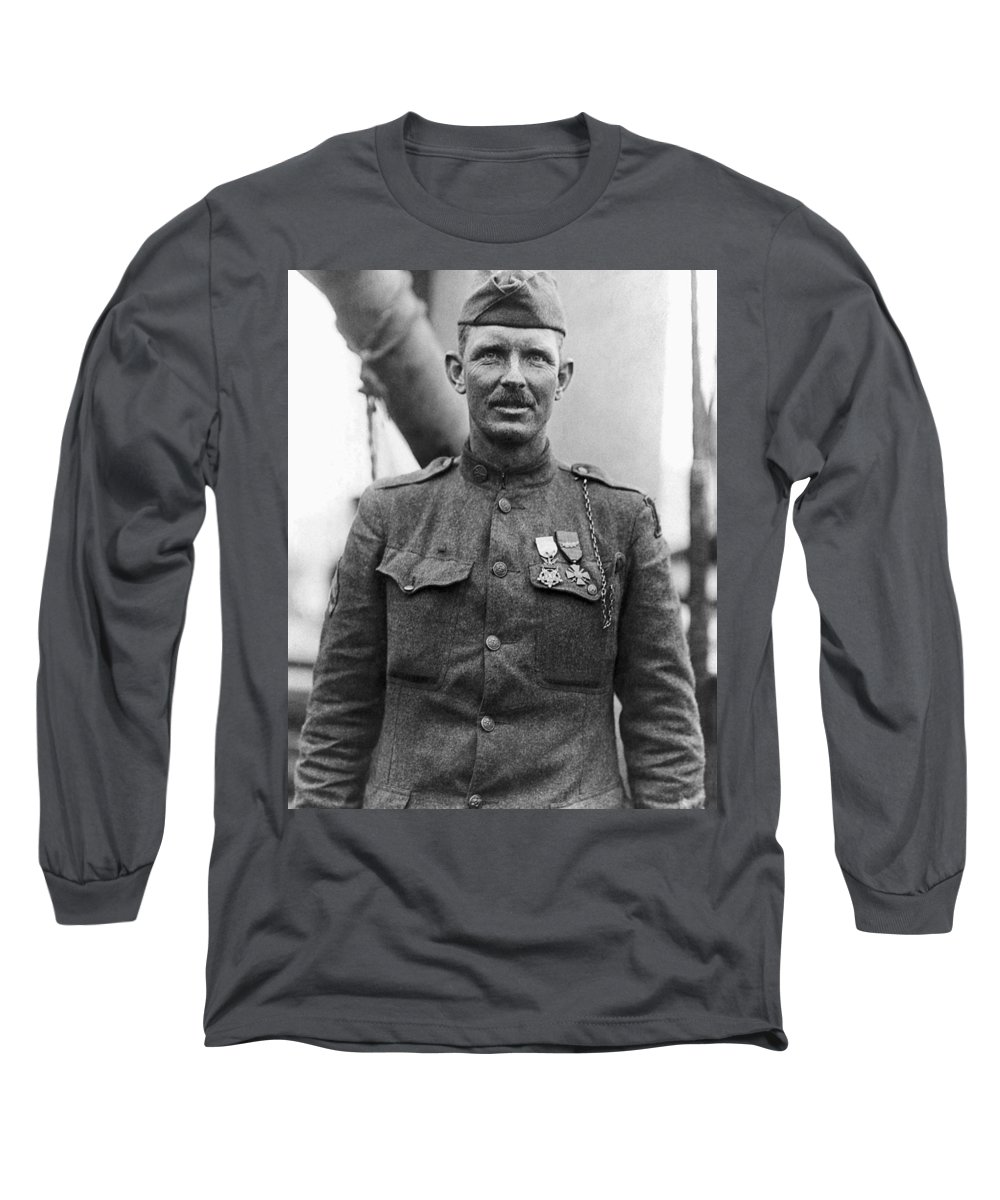 Alvin York Long Sleeve T-Shirt featuring the photograph Sergeant York - World War I Portrait by War Is Hell Store