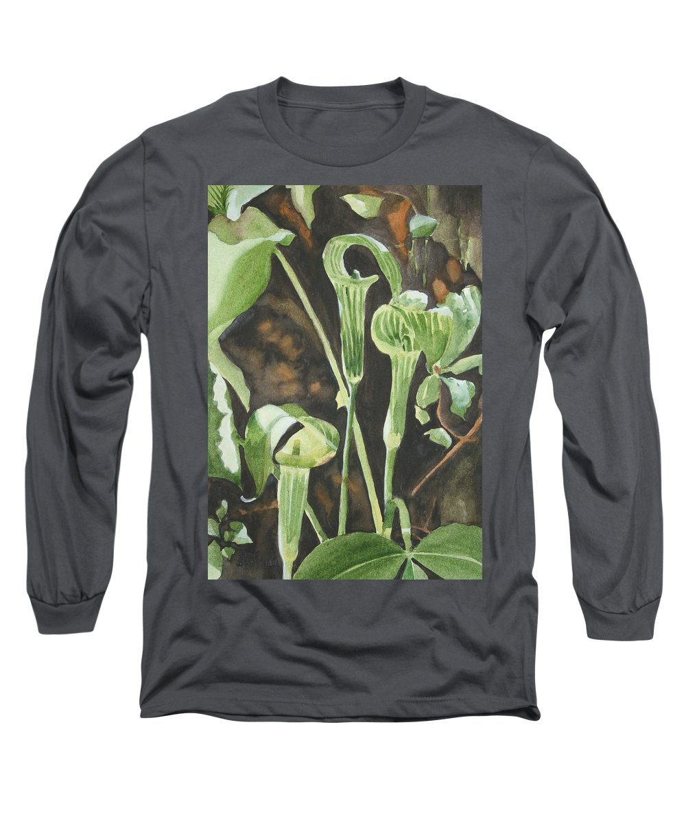 Woods Long Sleeve T-Shirt featuring the painting Sermon In The Woods by Jean Blackmer