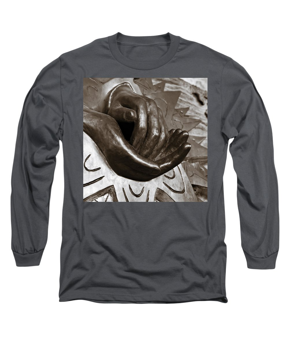 Hands Long Sleeve T-Shirt featuring the photograph Sharing Hands by Marilyn Hunt
