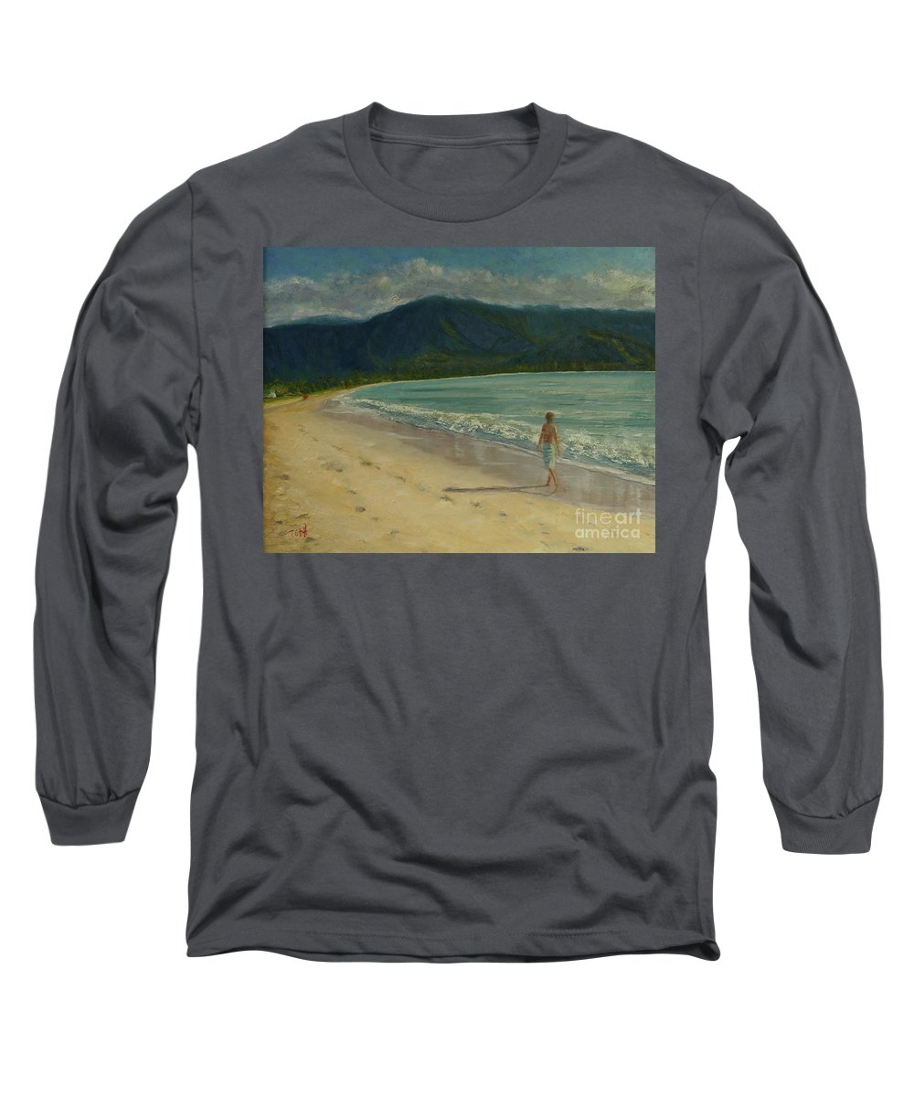 Hanalei Long Sleeve T-Shirt featuring the painting She Looks Straight Ahead by Laura Toth
