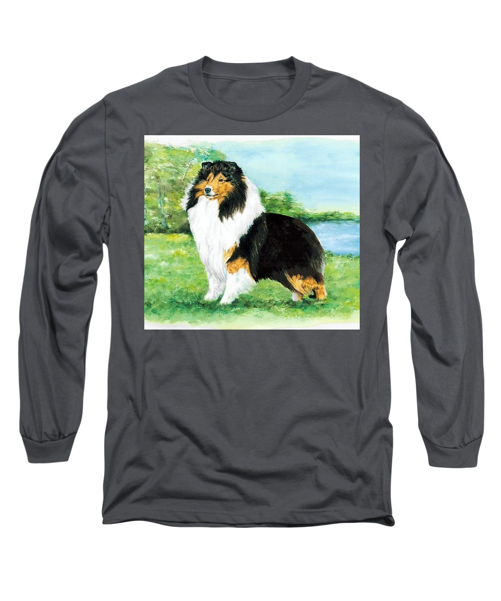 Shetland Sheepdog Long Sleeve T-Shirt featuring the painting Sheltie Wait by Kathleen Sepulveda