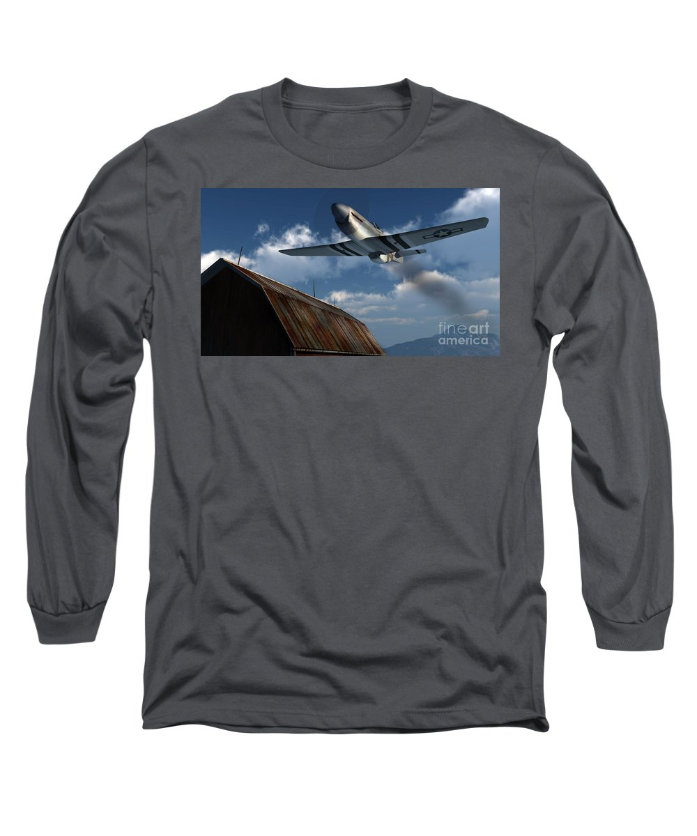 Aviation Long Sleeve T-Shirt featuring the digital art Sightseeing by Richard Rizzo