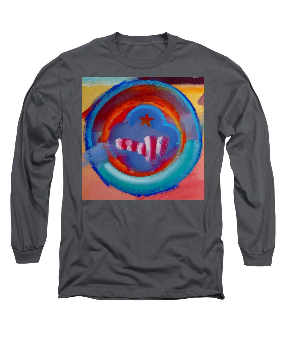 Logo Long Sleeve T-Shirt featuring the painting Skyscrapers by Charles Stuart