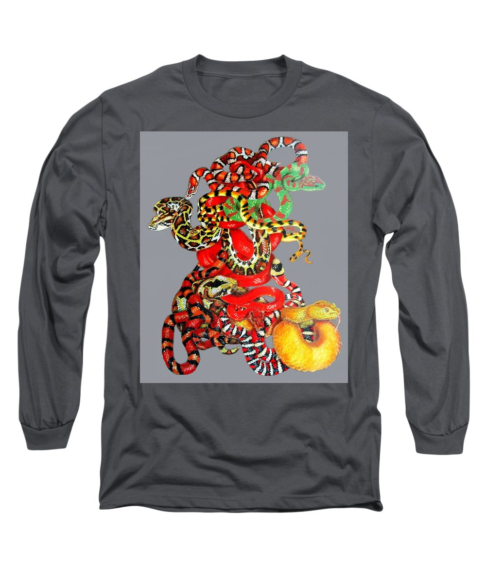 Reptile Long Sleeve T-Shirt featuring the drawing Slither by Barbara Keith
