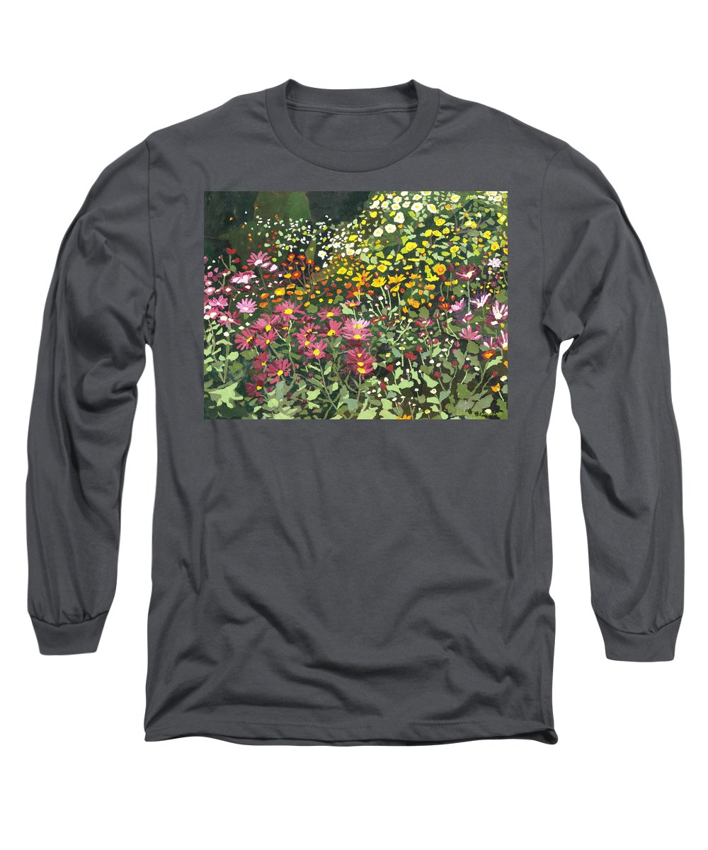 Floral Long Sleeve T-Shirt featuring the painting Smith Mums by Leah Tomaino