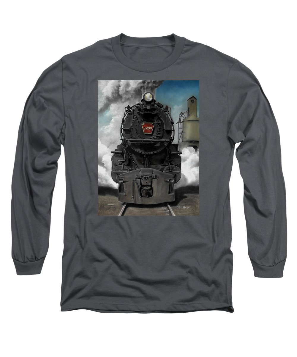 Trains Long Sleeve T-Shirt featuring the painting Smoke And Steam by David Mittner