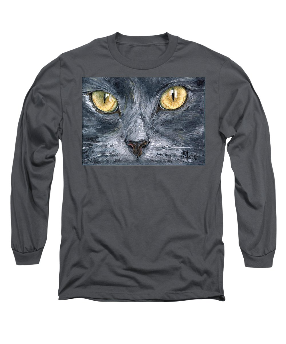 Charity Long Sleeve T-Shirt featuring the painting Smokey by Mary-Lee Sanders