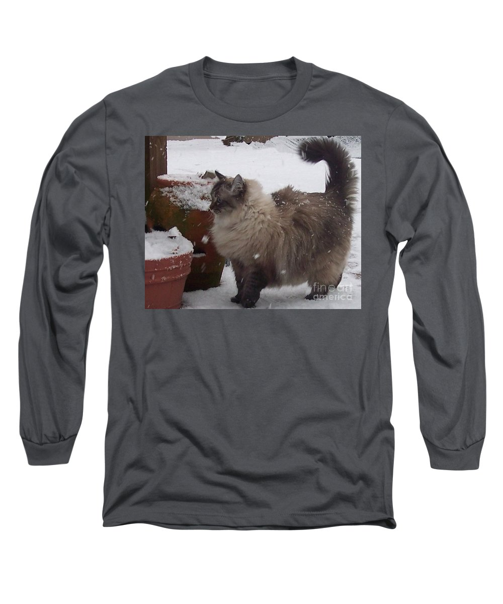 Cats Long Sleeve T-Shirt featuring the photograph Snow Kitty by Debbi Granruth