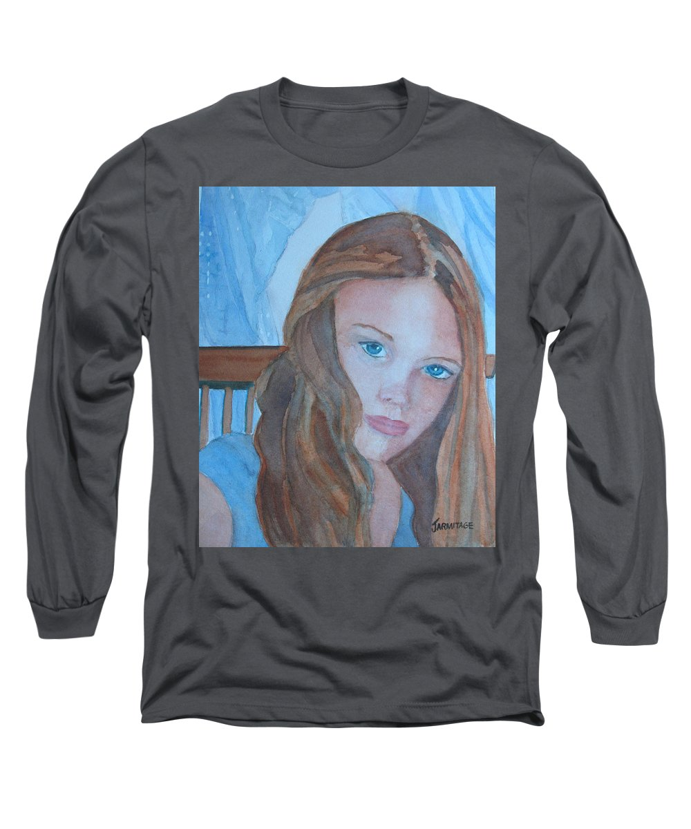 Girls Long Sleeve T-Shirt featuring the painting Soft Steel by Jenny Armitage