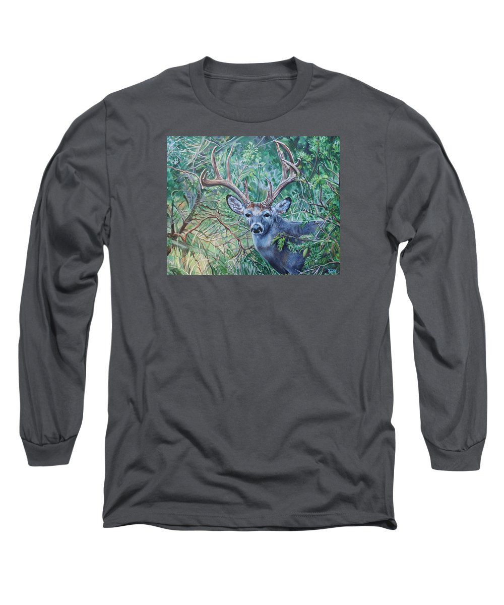 Deer Long Sleeve T-Shirt featuring the painting South Texas Deer In Thick Brush by Diann Baggett