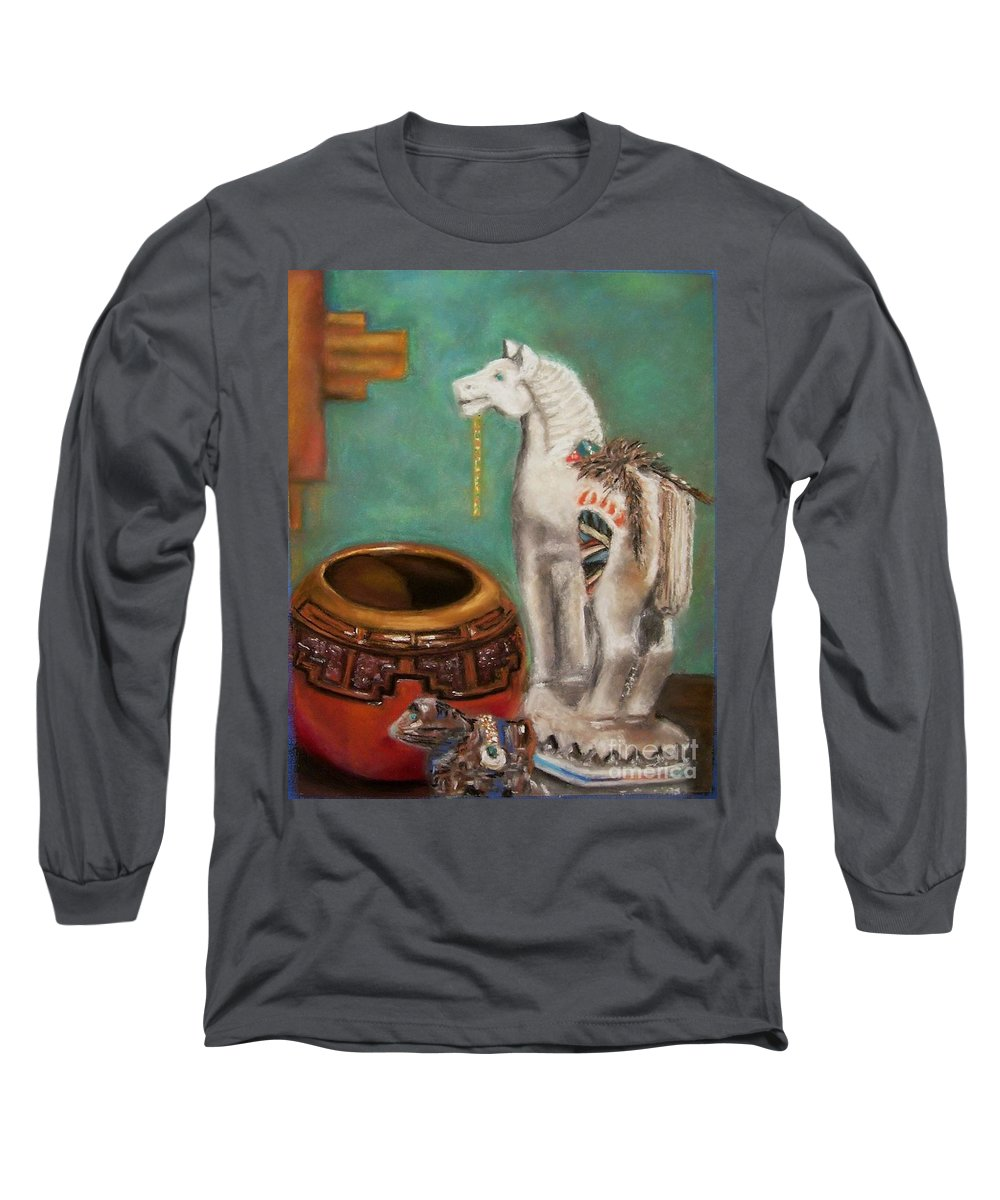Southwest Art Long Sleeve T-Shirt featuring the painting Southwest Treasures by Frances Marino