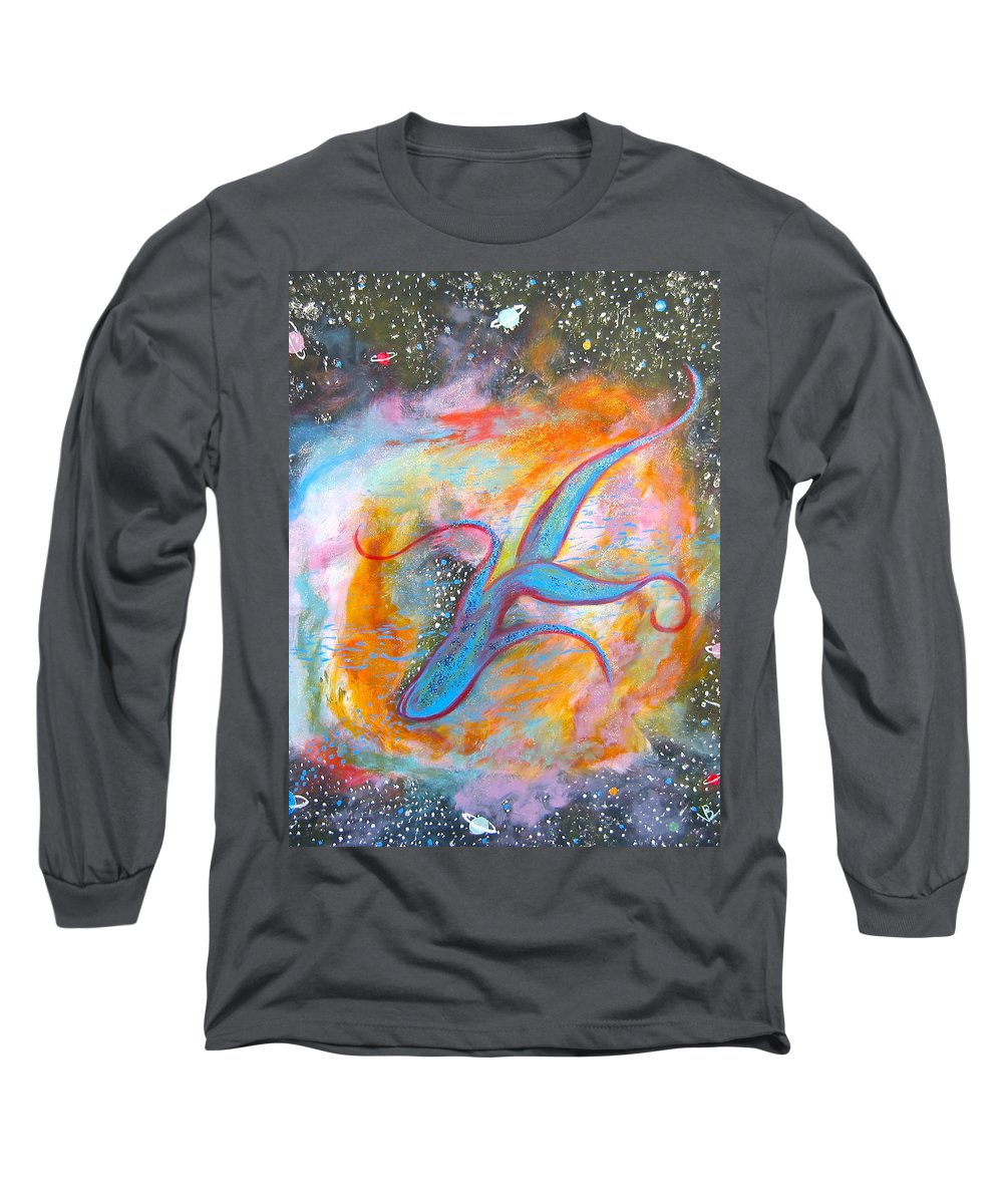 Space Long Sleeve T-Shirt featuring the painting Space Ocean by V Boge