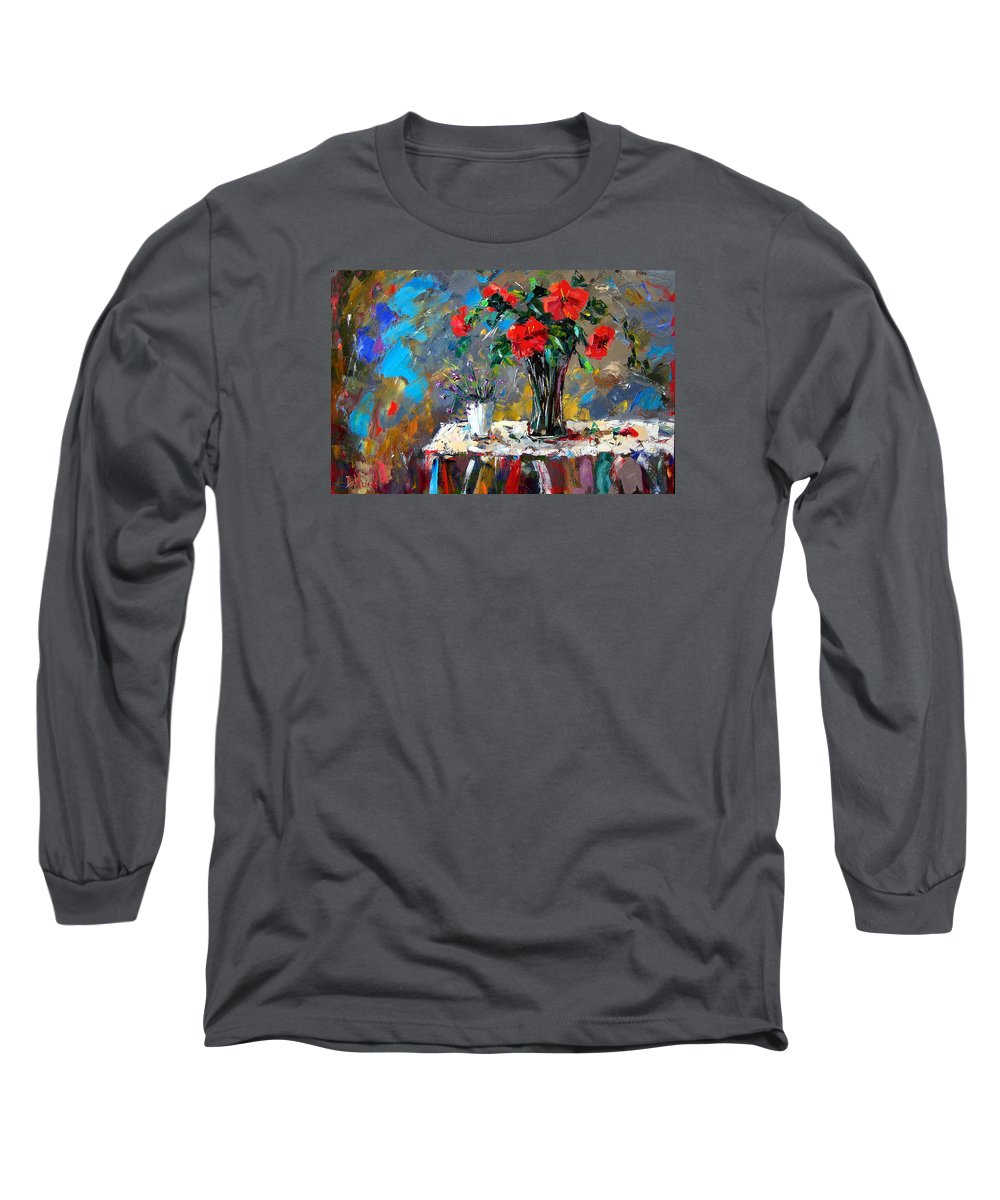 Flowers Long Sleeve T-Shirt featuring the painting Spring Blooms by Debra Hurd