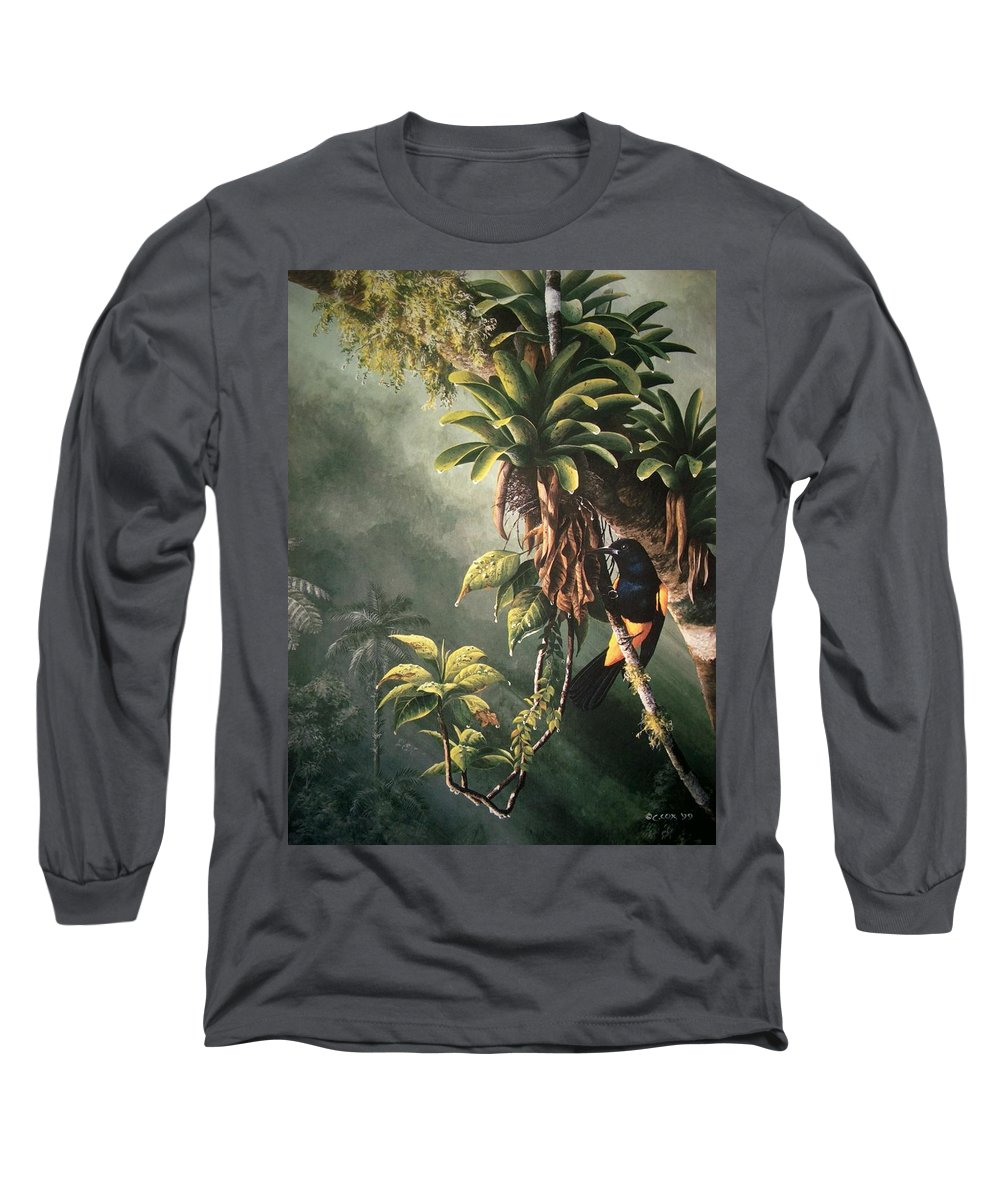 Chris Cox Long Sleeve T-Shirt featuring the painting St. Lucia Oriole In Bromeliads by Christopher Cox