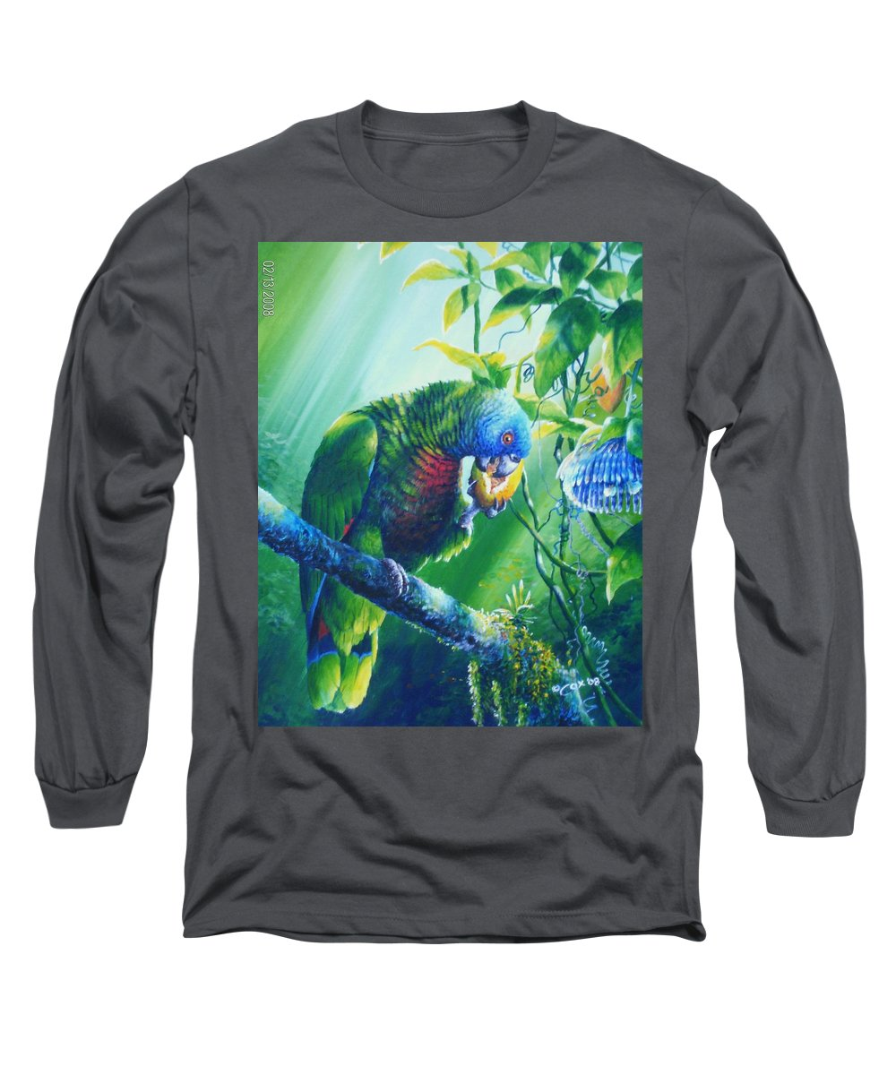 Chris Cox Long Sleeve T-Shirt featuring the painting St. Lucia Parrot And Wild Passionfruit by Christopher Cox
