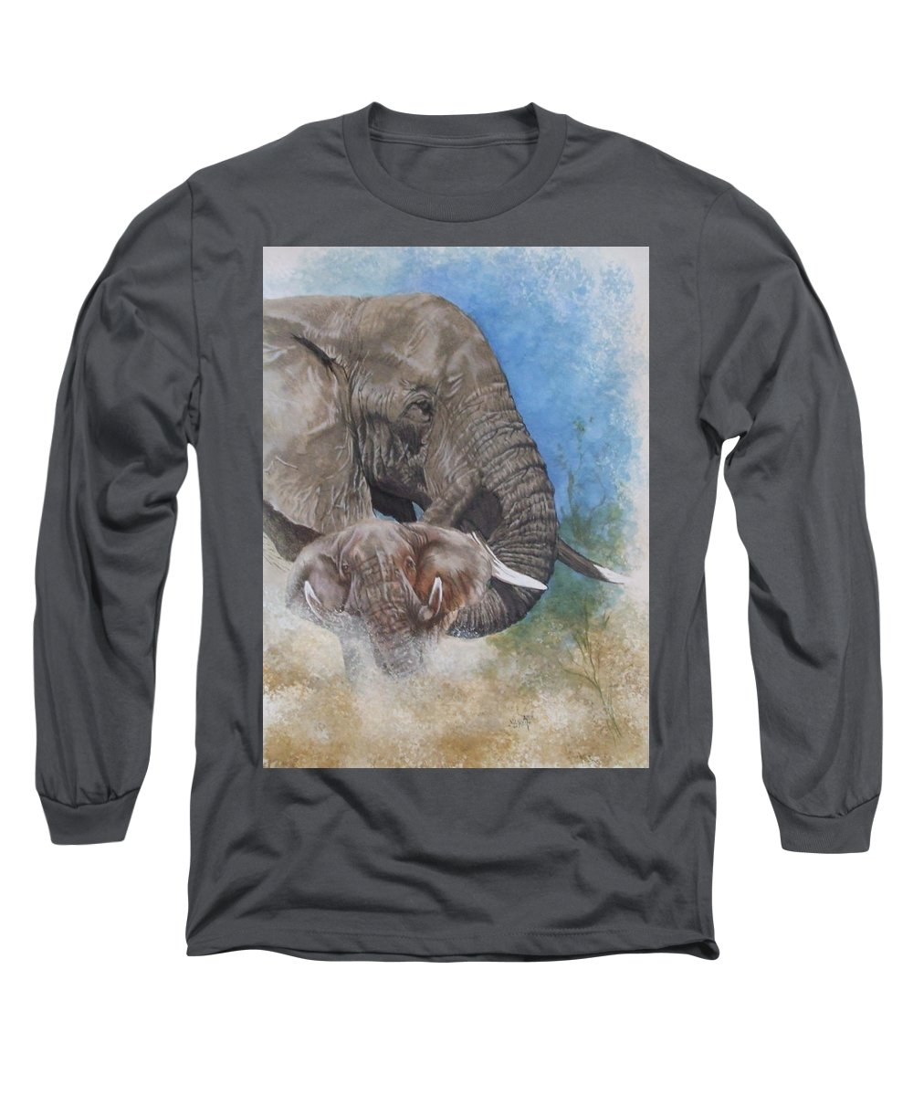 Elephant Long Sleeve T-Shirt featuring the mixed media Stalwart by Barbara Keith