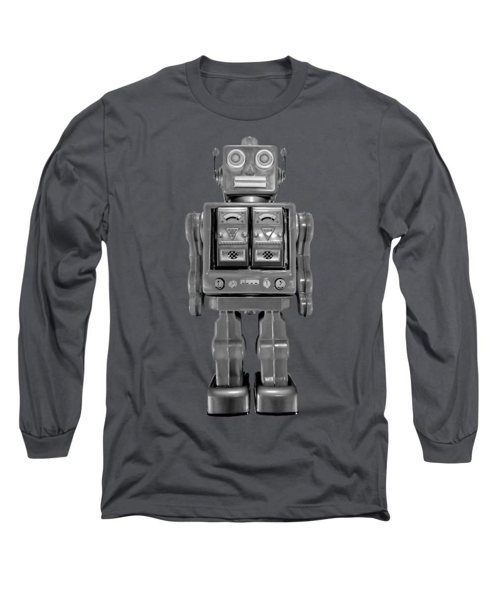 Art Long Sleeve T-Shirt featuring the photograph Star Strider Robot Red Bw by YoPedro