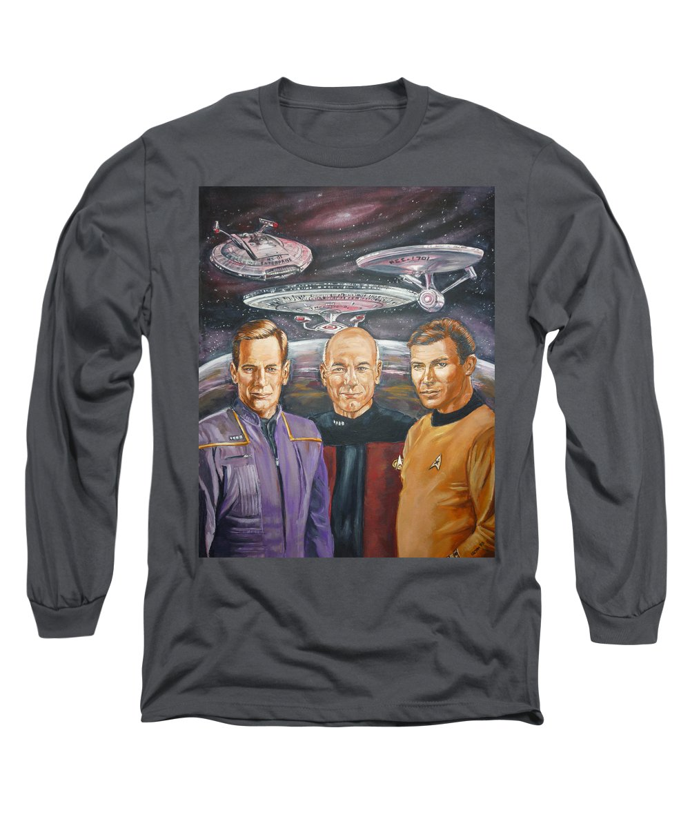 Star Trek Long Sleeve T-Shirt featuring the painting Star Trek Tribute Enterprise Captains by Bryan Bustard