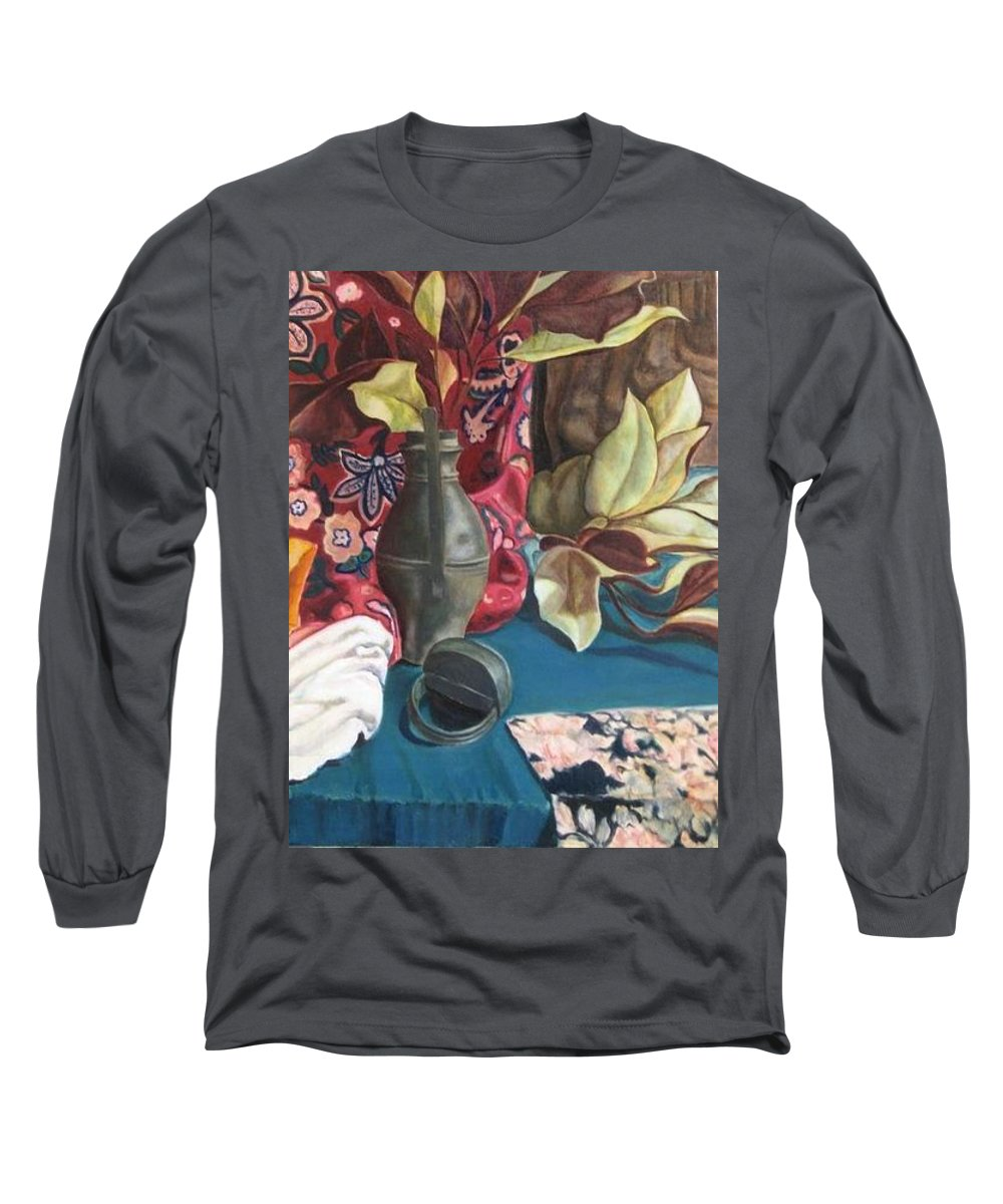 Still-life Long Sleeve T-Shirt featuring the painting Still-life With Magnolia Leaves by Piety Choi