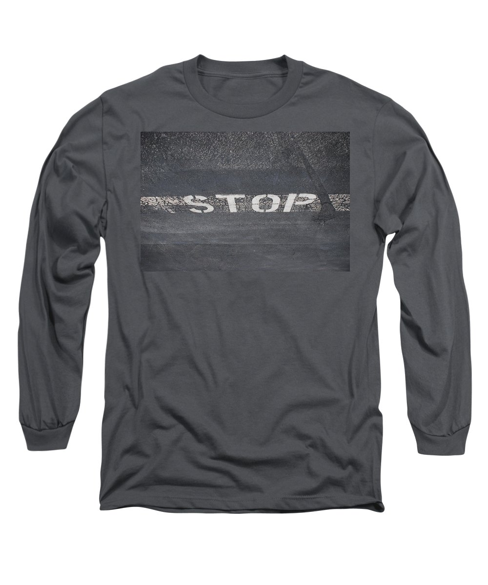 Black And White Long Sleeve T-Shirt featuring the photograph Stop by Rob Hans