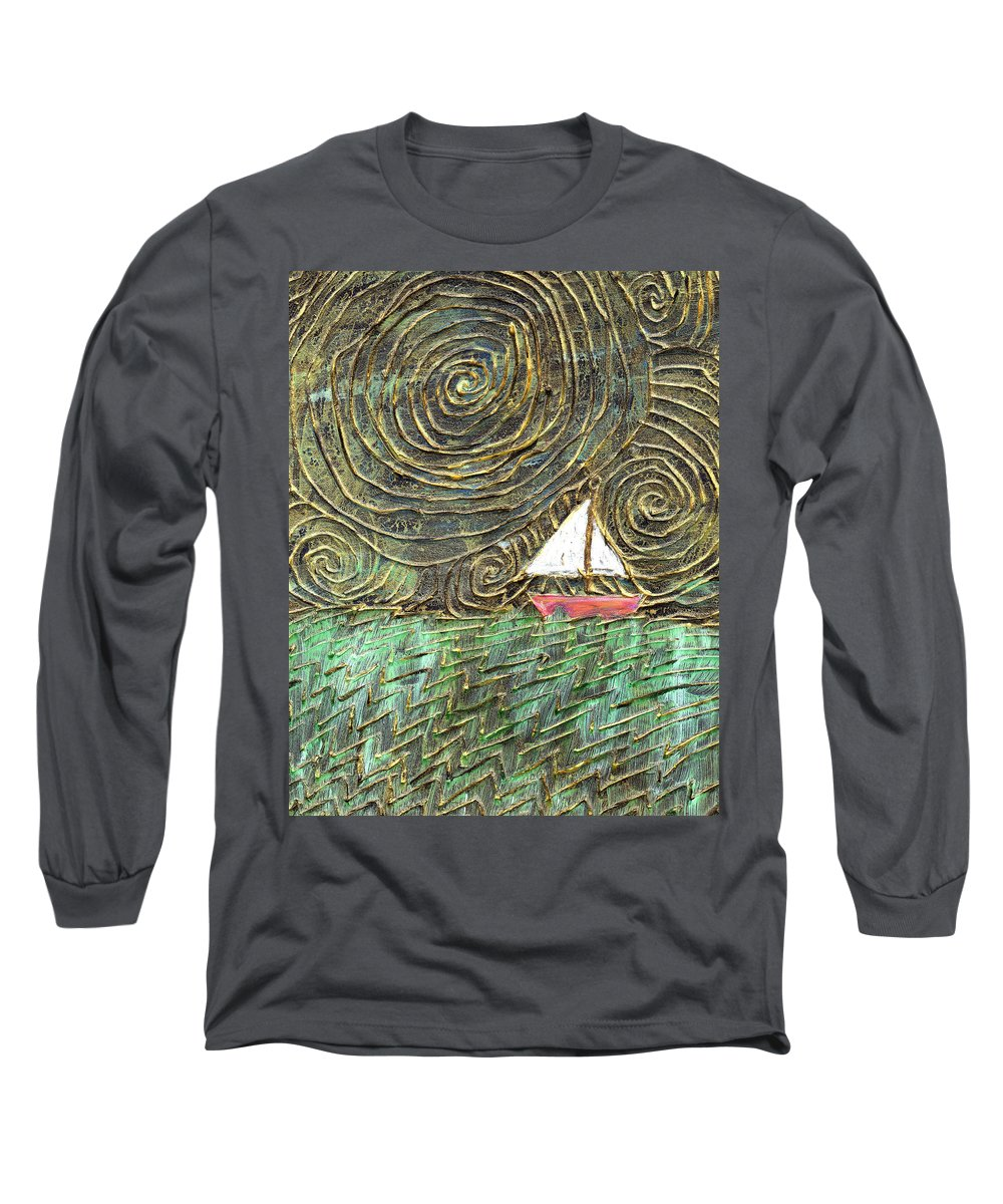 Storm Long Sleeve T-Shirt featuring the painting Stormy Night by Wayne Potrafka