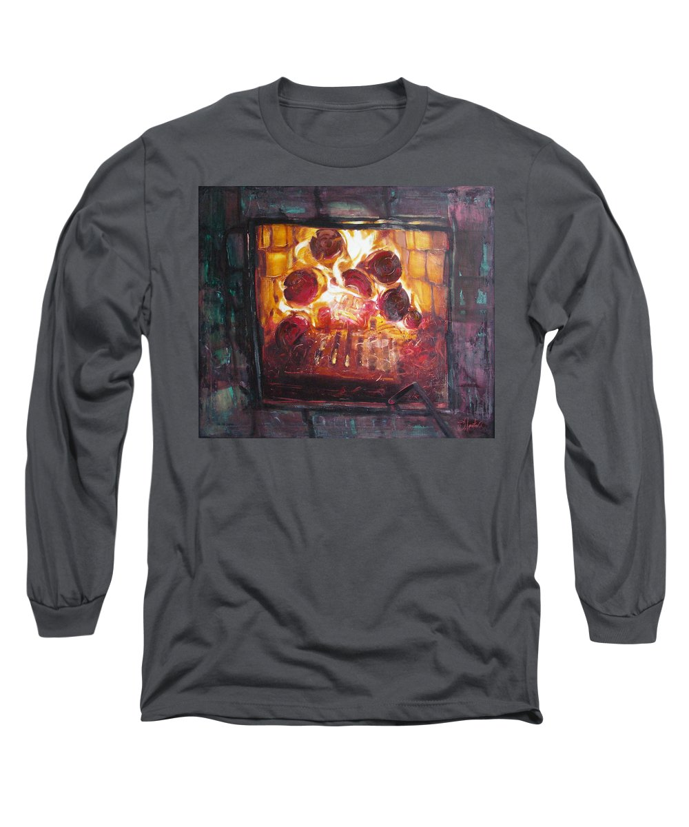 Oil Long Sleeve T-Shirt featuring the painting Stove by Sergey Ignatenko