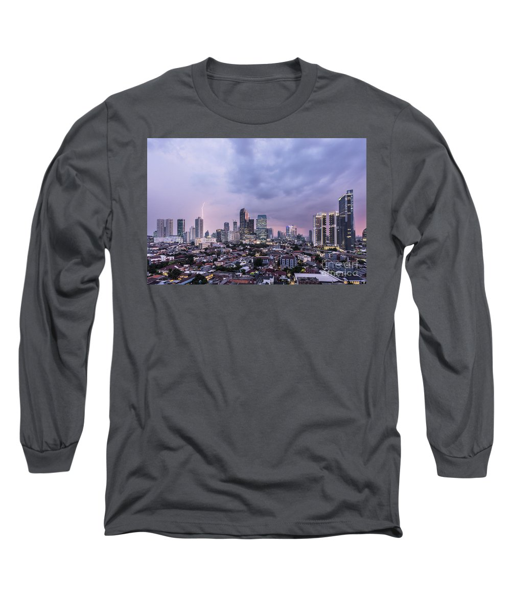 Capital Cities Long Sleeve T-Shirt featuring the photograph Stunning Sunset Over Jakarta, Indonesia Capital City by Didier Marti