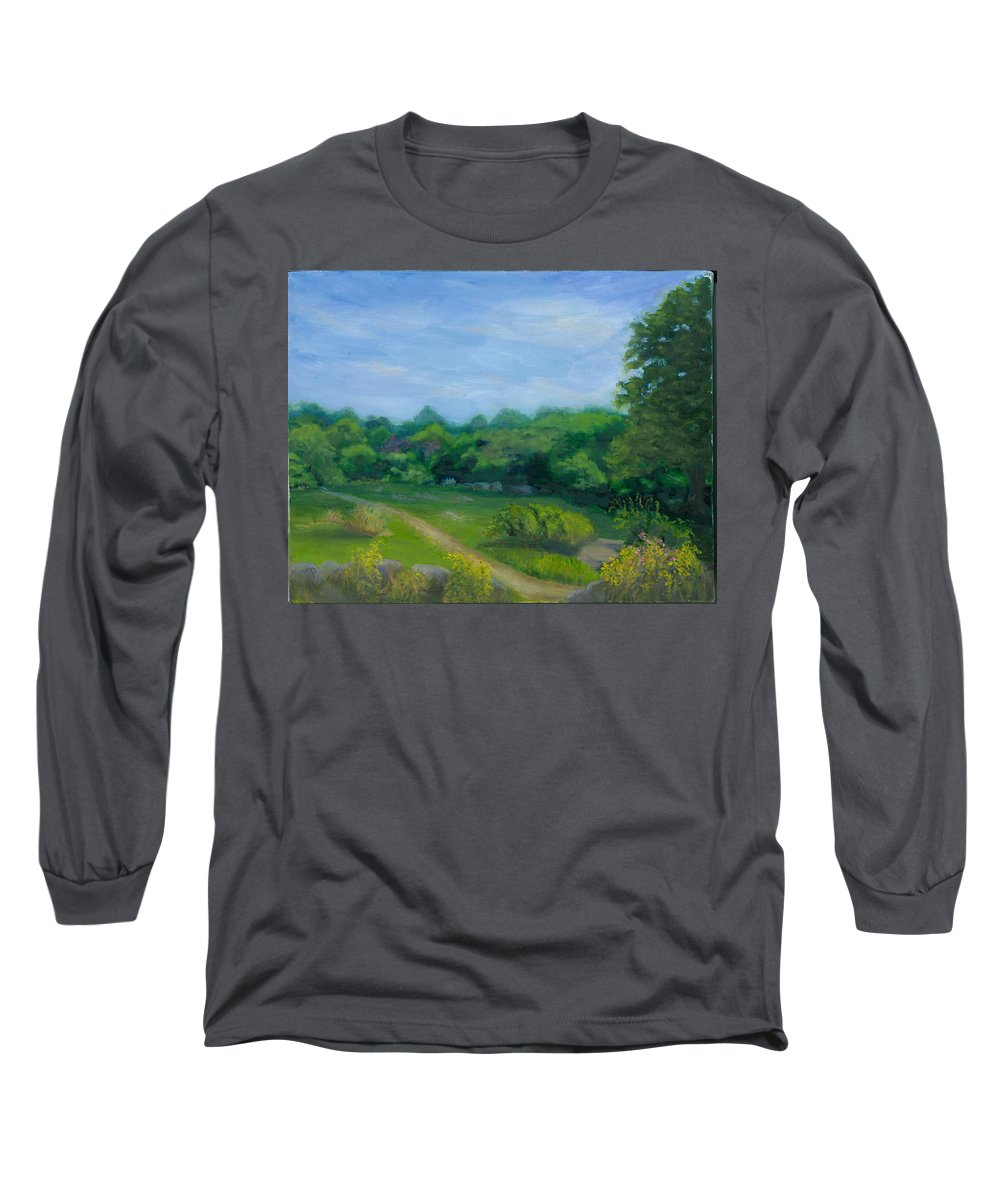 Landscape Long Sleeve T-Shirt featuring the painting Summer Afternoon At Ashlawn Farm by Paula Emery