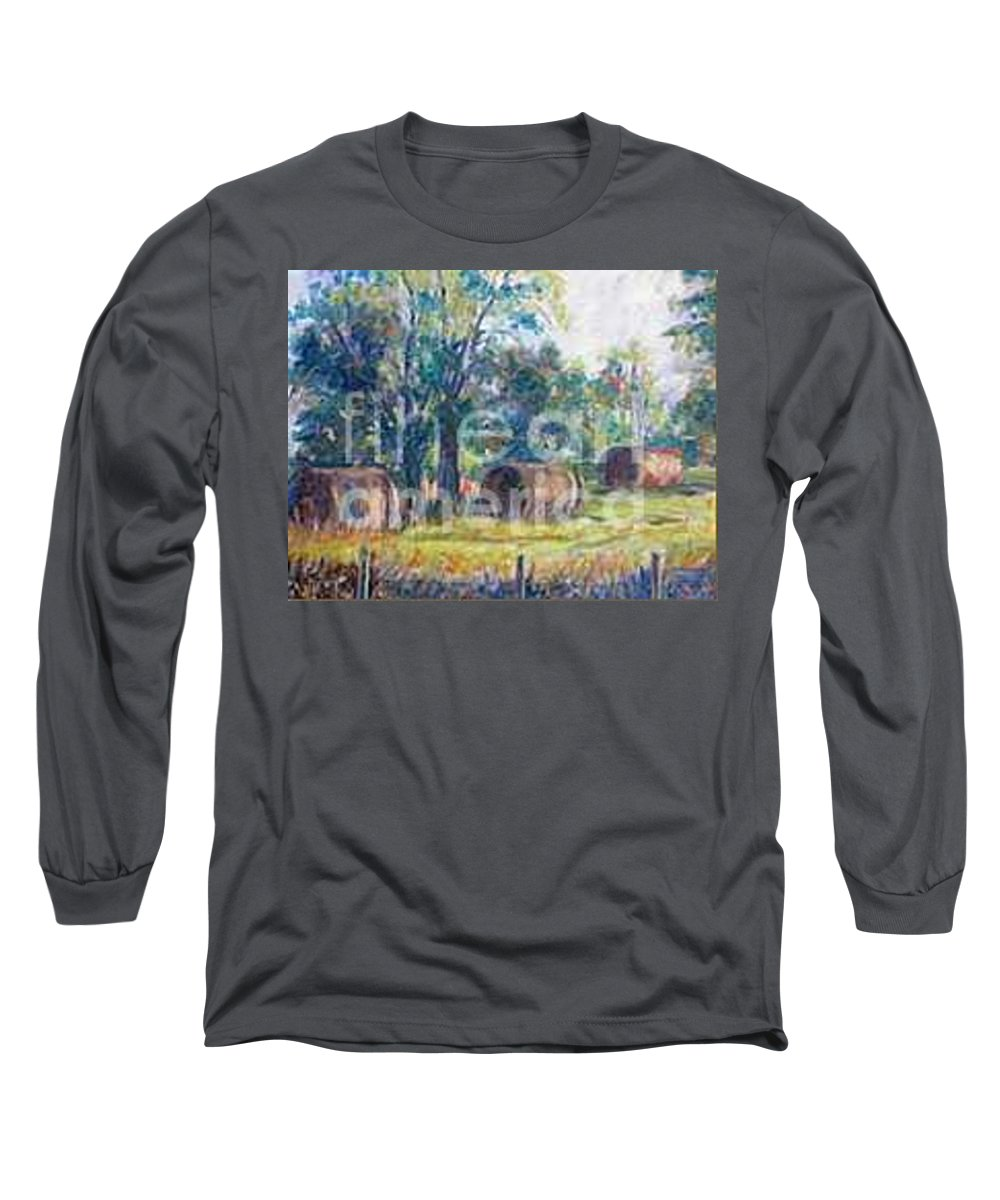 Landscape Long Sleeve T-Shirt featuring the painting Summer Idyll by Jan Bennicoff