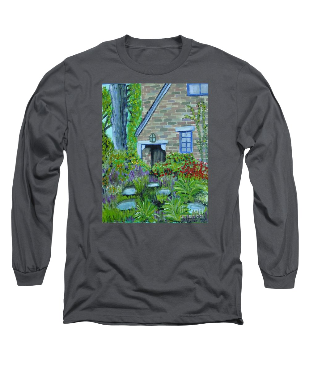 Cottage Long Sleeve T-Shirt featuring the painting Summer Retreat by Laurie Morgan