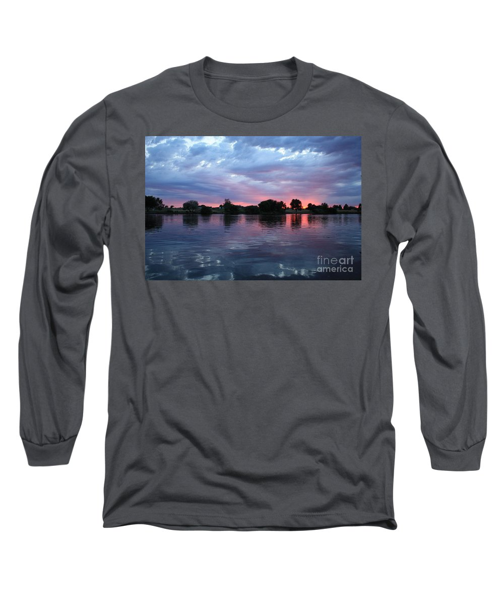 Sunset Long Sleeve T-Shirt featuring the photograph Summer Sunset On Yakima River 4 by Carol Groenen