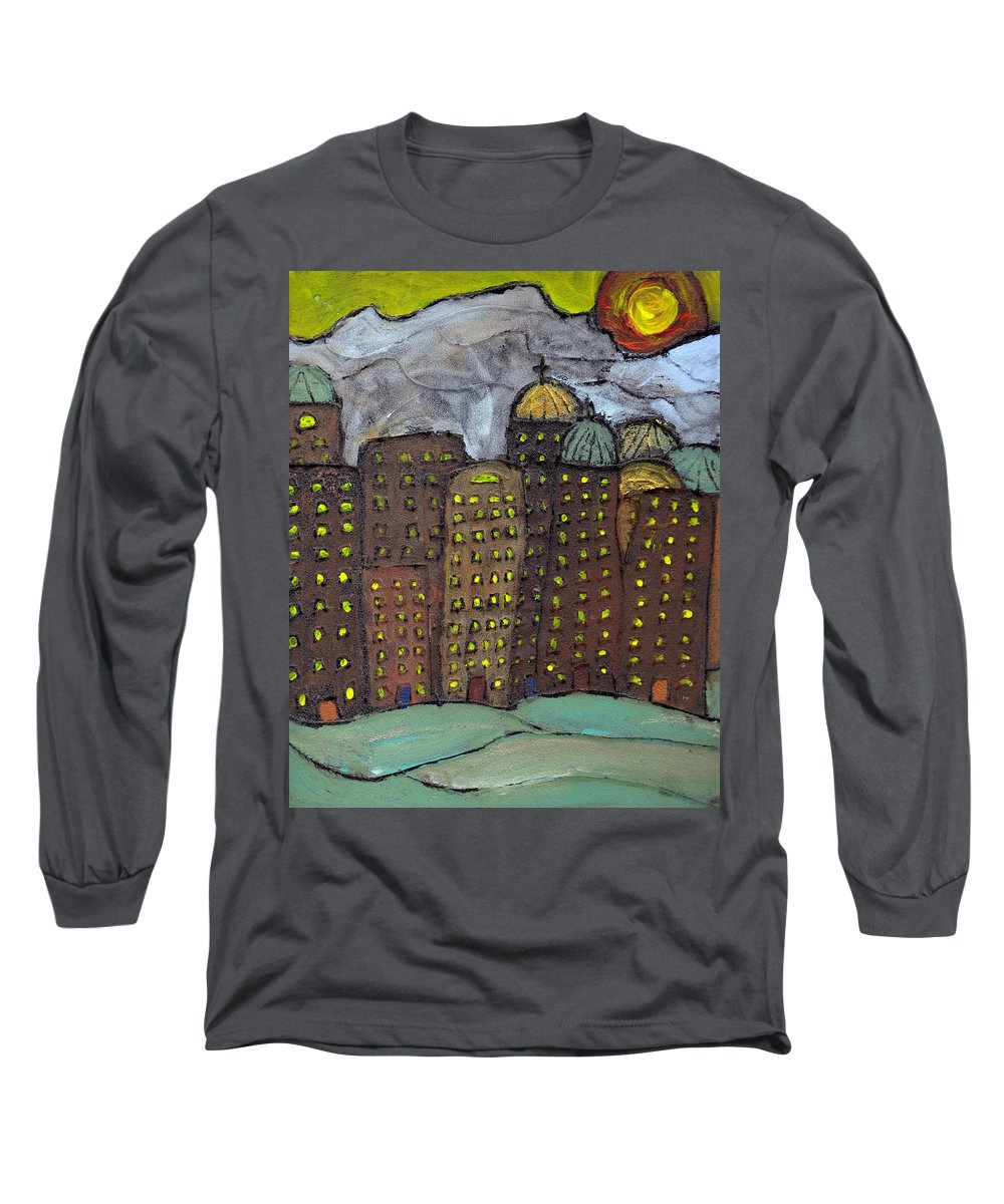 Buildings Long Sleeve T-Shirt featuring the painting Sun Rising On Olde Towne by Wayne Potrafka