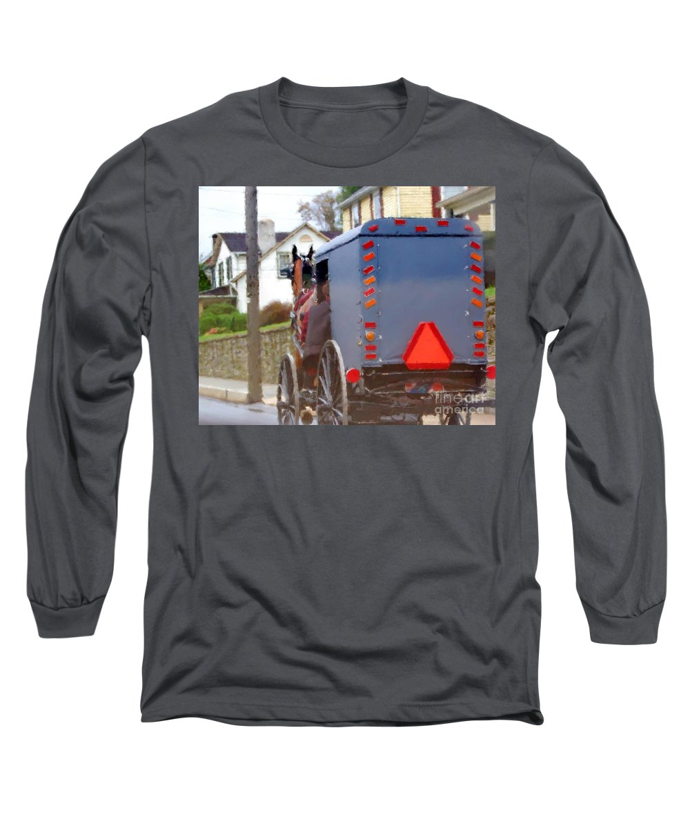 Amish Long Sleeve T-Shirt featuring the photograph Sunday Courting by Debbi Granruth