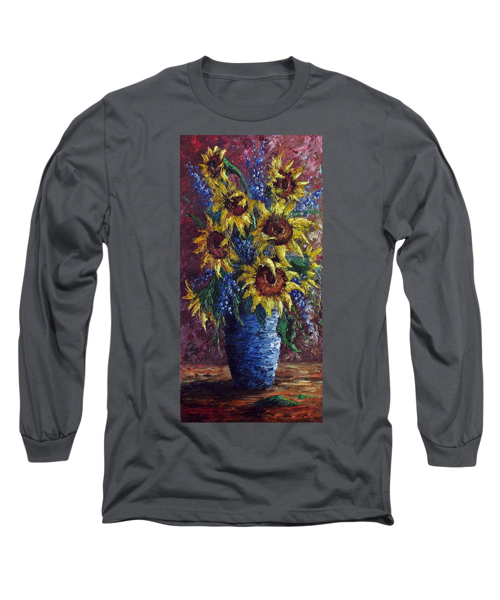 Flowers Long Sleeve T-Shirt featuring the painting Sunflower Bouquet by David G Paul