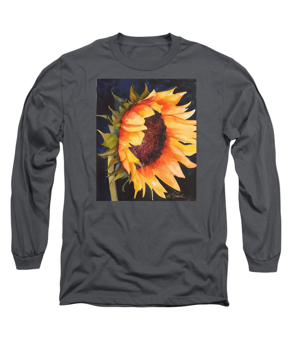 Floral Long Sleeve T-Shirt featuring the painting Sunflower by Karen Stark