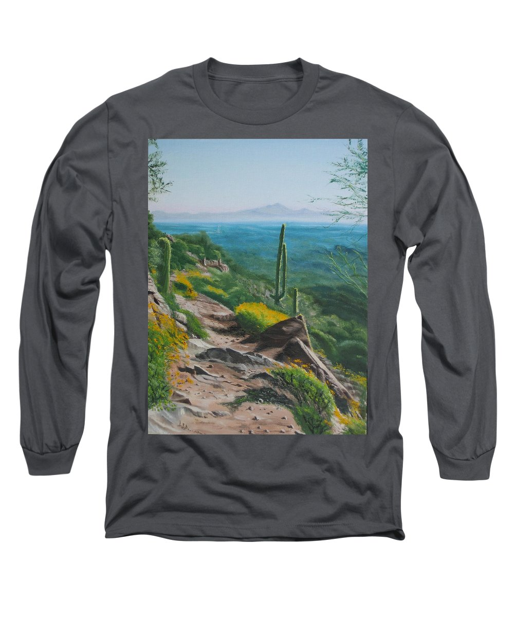Landscape Long Sleeve T-Shirt featuring the painting Sunrise Trail by Lea Novak