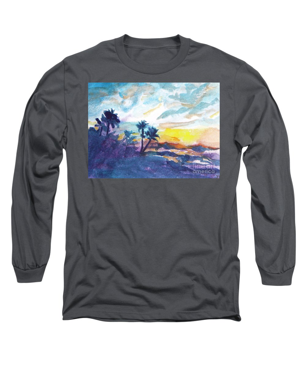 Landscape Long Sleeve T-Shirt featuring the painting Sunset In Hawaii by Jan Bennicoff