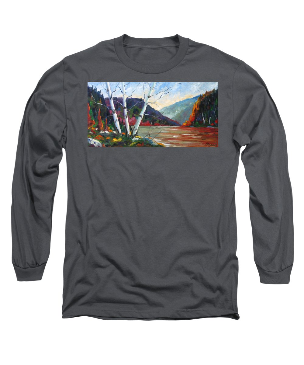 Landscape; Landscapes/scenic; Birches;sun;lake;pranke Long Sleeve T-Shirt featuring the painting Sunset On The Lake by Richard T Pranke
